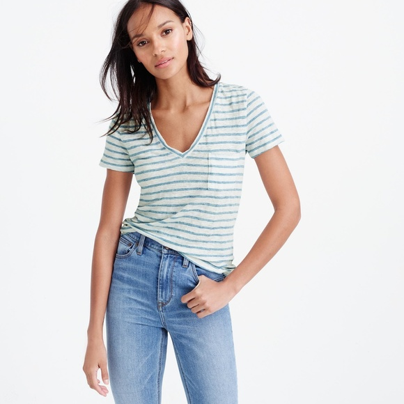 1ca64de0fec725 J. Crew Linen V-neck Pocket T-shirt in Stripe. M_5a9de9b88df4709a9c4a0873